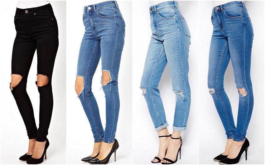 jeans med hål på knäna